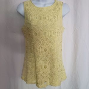 Banana Republic Size 4 Yellow Lace Tank Top